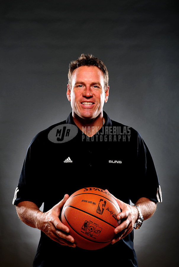 Dec. 16, 2011; Phoenix, AZ, USA; Phoenix Suns coach Dan Majerle poses for a portrait during media day at the US Airways Center. Mandatory Credit: Mark J. Rebilas-