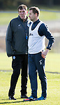 St Johnstone Training…27.10.17<br />Manager Tommy Wright pictured talking with Steven MacLean during training this morning at McDiarmid Park ahead of tomorrows trip to Partick Thistle<br />Picture by Graeme Hart.<br />Copyright Perthshire Picture Agency<br />Tel: 01738 623350  Mobile: 07990 594431