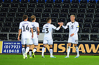 Sam Surridge of Swansea City celebrates scoring his side's third goal during the Carabao Cup Second Round match between Swansea City and Cambridge United at the Liberty Stadium in Swansea, Wales, UK. Wednesday 28, August 2019.