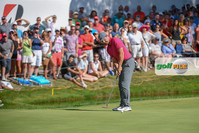 Rory McIlroy (NIR) barely misses his putt on 17 during 3rd round of the World Golf Championships - Bridgestone Invitational, at the Firestone Country Club, Akron, Ohio. 8/4/2018.<br /> Picture: Golffile | Ken Murray<br /> <br /> <br /> All photo usage must carry mandatory copyright credit (© Golffile | Ken Murray)