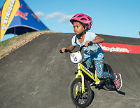 NWA Democrat-Gazette/BEN GOFF @NWABENGOFF<br /> Molly McCourt, 5, of Springdale races in the final for ages 5-6, which she won, Wednesday, Oct. 10, 2018, during the Strider Bikes pump track races at The Jones Center's Runway Bike Park in Springdale. Children ages 3-6, divided into two age groups, raced head-to-head to see who was the fastest on the balance bikes designed to help young children learn how to ride. It was the first competetive event to use the new pump track that was built to host the Red Bull Pump Track World Championship Final coming up Saturday.