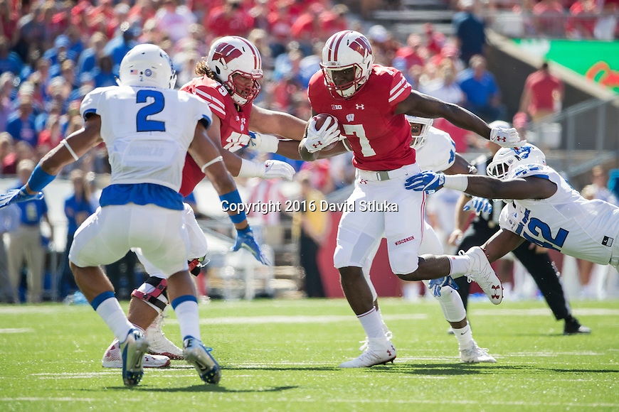 Wisconsin Badgers running back Bradrick Shaw (7) carries the ball during an NCAA college football game against the Georgia State Panthers Saturday, September 17, 2016, in Madison, Wis. The Badgers won 23-17. (Photo by David Stluka)