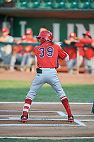 Jeremiah Jackson (39) of the Orem Owlz bats against the Ogden Raptors at Lindquist Field on August 3, 2018 in Ogden, Utah. The Raptors defeated the Owlz 9-4. (Stephen Smith/Four Seam Images)