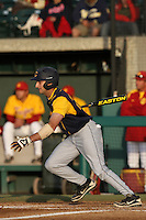 Vince Bruno #22 of the California Bears bats against the USC Trojans at Dedeaux Field on April 5, 2012 in Los Angeles,California. California defeated USC 5-4.(Larry Goren/Four Seam Images)