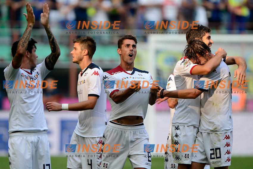 Esultanza fine gara giocatori Cagliari<br /> Milano 28-09-2014 Stadio Giuseppe Meazza - Football Calcio Serie A Inter - Cagliari. Foto Giuseppe Celeste / Insidefoto
