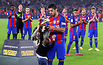 29.10.2016 Barcelona. la Liga day 10. Picture show Luis Suarez with their children offer La Bota de Oro to all supporters before game between FC Barcelona against Granada CF at camp nou