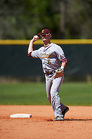 Central Michigan Chippewas shortstop Alex Borglin (6) during practice before a game against the Boston College Eagles on March 3, 2017 at North Charlotte Regional Park in Port Charlotte, Florida.  Boston College defeated Central Michigan 5-4.  (Mike Janes/Four Seam Images)