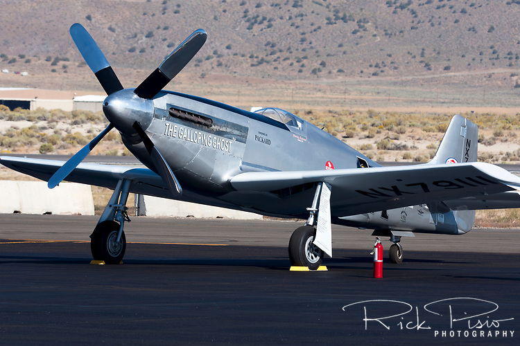 Unlimited Air Racer Galloping Ghost sits on the ramp at Stead Field in Reno, Nevada, during the 2010 National Championship Air Races. The aircraft is owned and flown by Jimmy Leeward of Ocala, Florida