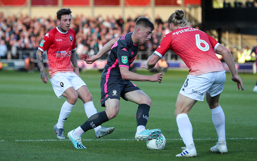 Leeds United's Jack Clarke takes on Salford City's Carl Piergianni<br /> <br /> Photographer Alex Dodd/CameraSport<br /> <br /> The Carabao Cup First Round - Salford City v Leeds United - Tuesday 13th August 2019 - Moor Lane - Salford<br />  <br /> World Copyright © 2019 CameraSport. All rights reserved. 43 Linden Ave. Countesthorpe. Leicester. England. LE8 5PG - Tel: +44 (0) 116 277 4147 - admin@camerasport.com - www.camerasport.com
