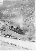 RGS #455 with a freight coming down along the San Miguel toward Telluride.<br /> RGS  Pandora, CO  Taken by Maxwell, John W. - 5/30/1948