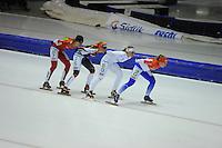 SCHAATSEN: HEERENVEEN: 25-10-2014, IJsstadion Thialf, Marathonschaatsen, KPN Marathon Cup 2, Elma de Vries (#87), Mariska Huisman (#76), Irene Schouten (#80), Foske Tamar van der Wal (#90), ©foto Martin de Jong