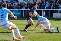 Robbie Fergusson of London Scottish on the ball during the Greene King IPA Championship match between London Scottish Football Club and Bedford Blues at Richmond Athletic Ground, Richmond, United Kingdom on 25 March 2017. Photo by David Horn / PRiME Media Images.