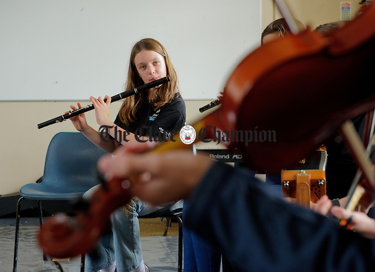 Ava Sackaroff  practicing with The Centre For Irish Music Boston Ceili Band during Fleadh Cheoil na hEireann in Ennis. Photograph by John Kelly.