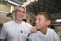 Platform diver Tom Daley aged 11 with mentor Leon Taylor pictured in 2006 at Ponds Forge International Sports Centre in Sheffield...© Trevor Smith Chesterfield