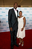 "ST. PAUL, MN JULY 16: Former NBA all-star Dikembe Mutombo poses on the red carpet at the Starkey Hearing Foundation ""So The World May Hear Awards Gala"" on July 16, 2017 in St. Paul, Minnesota. Credit: Tony Nelson/Mediapunch"