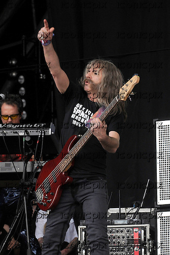 Spinal Tap - bass player Derek Smalls (real name Harry Shearer) performing live on Day Two on the Pyramid Stage at the 2009 Glastonbury Festival Pilton Somerset UK - 27 Jun 2009.  Photo credit: George Chin/IconicPix