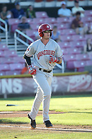 Kacy Clemens (44) of the Vancouver Canadians runs to first base during a game against the Salem-Keizer Volcanoes at Volcanoes Stadium on July 24, 2017 in Keizer, Oregon. Salem-Keizer defeated Vancouver, 4-3. (Larry Goren/Four Seam Images)