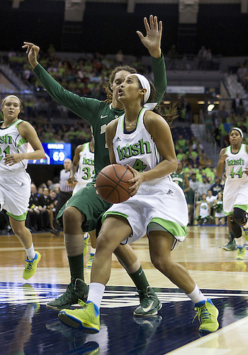December 05, 2012:  Notre Dame guard Skylar Diggins (4) drives to the basket as Baylor center Brittney Griner (42) defends during NCAA Women's Basketball game action between the Notre Dame Fighting Irish and the Baylor Bears at Purcell Pavilion at the Joyce Center in South Bend, Indiana.  Baylor defeated Notre Dame 73-61.