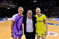 From left Stars captain Leana de Bruin, Minister of Sport Grant Robinson and Pulse's captain Katrina Rore, ANZ Premiership - Pulse v Stars at TSB Arena, Wellington, New Zealand on Monday 13 May 2019. <br /> Photo by Masanori Udagawa. <br /> www.photowellington.photoshelter.com