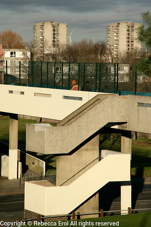 Thamesmead in southeast London, UK: pedestrian bridge leading from Abbeywood to the 1960s council estate there