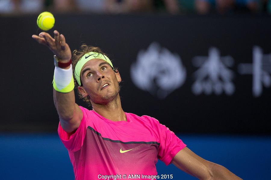 Rafael Nadal (ESP)<br /> <br /> Tennis - Australian Open 2015 - Grand Slam -  Melbourne Park - Melbourne - Victoria - Australia  - 21 January 2015. <br /> &copy; AMN IMAGES