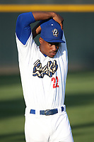 Josiah Gray (22) of the Rancho Cucamonga Quakes stretches prior to the game against the Lancaster JetHawks at LoanMart Field on June 4, 2019 in Rancho Cucamonga, California. (Larry Goren/Four Seam Images)