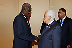 Palestinian President Mahmoud Abbas meets with chairman of the African Union Commission Moussa Faki, on the sidelines of the 29th Ordinary Session of the Assembly of the Heads of State and the Governments, in Addis Ababa, Ethiopia July 3, 2017. Photo by Thaer Ganaim