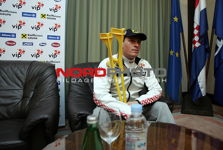 Croatian skier Ivica Kostelic attends a press conference in Zagreb's airport Pleso on February 15, 2012. Overall World Cup leader has just arrived from Basel where he underwent a knee surgery. <br /> <br /> Foto &copy;  nph / PIXSELL / Sajin Strukic