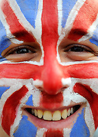 27.07.2012. London England.  A man with aunion jack on his face arrives for the olympic opening ceremony in London, Great Britain, 27 July 2012.