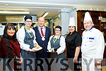 Pictured at the National Learning Centre, Clash, Tralee last Tuesday Feb 11, were 2 catering students who won Bronze medals in the Food&Bev, Chef Ireland national competitions , Hot Dessert open class, held in Dublin last Tuesday Feb 4, L-R Fiona Keogh, area manager, Erin Quirke, Bronze medal winner, Jim Finucane, Tralee Mayor, Ann Marie Fealey, Bronze medal winner, with Frances Griffin&Tom Hardiman Catering instructors.
