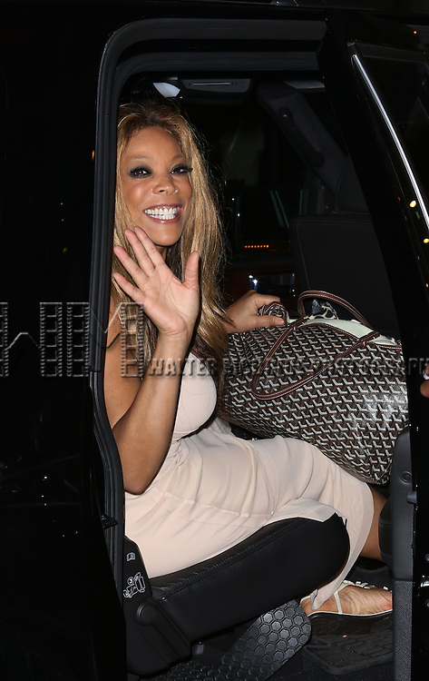 """Wendy Williams leaving the theatre after making her Broadway stage debut as Matron """"Mama"""" Morton in CHICAGO at the Ambassador Theatre on July 1, 2013 in New York City."""
