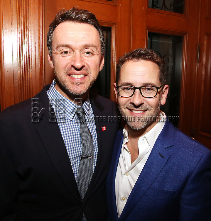 Andrew Lippa and David Bloch during the Dramatists Guild Fund intimate salon with Benj Pasek and Justin Paul at the home of Kara Unterberg on March 7, 2016 in New York City.