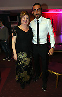 Pictured: Chico Flores (R) with the mother of Angel Rangel (L). Wednesday 10 April 2013<br /> Re: Swansea footballer Angel Rangel and wife Nicky's cancer charity fundraising dinner at the Liberty Stadium.