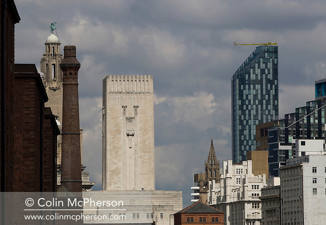 Landmark buildings including the Liver Building (left) as seen from the renovated Albert Dock on the Mersey waterfront in Liverpool. The city centre of Liverpool underwent significant regeneration with a number of large-scale projects due to be completed in 2008-08. In 2007 the city celebrated its 800th anniversary and in 2008 it held the European Capital of Culture title together with Stavanger, Norway.