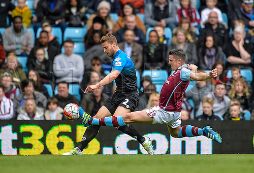 09.04.2016. Villa Park, Birmingham, England. Barclays Premier League. Aston Villa versus Bournemouth. Simon Francis of Bournemouth is challenged by Ciaran Clark of Aston Villa.