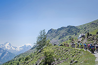 a decimated peloton moves to the highest regions of the climb up the Col de Sarenne (HC/1979m/15.3km/6,9%)<br /> <br /> <br /> stage 7: Aoste &gt; Alpe d'Huez (168km)<br /> 69th Crit&eacute;rium du Dauphin&eacute; 2017