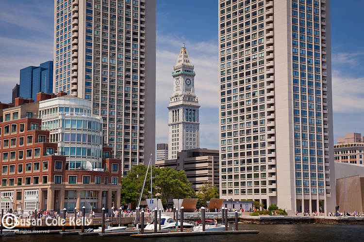 The Customs House framed by Harbor Towers on Boston Harbor, Boston, MA, USA