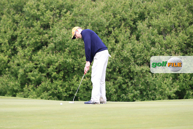 Donal O'Brien (Laytown &amp; Bettystown) on the 1st green during Round 1 of the Irish Mid-Amateur Open Championship at New Forest on Saturday 20th June 2015.<br /> Picture:  Thos Caffrey / www.golffile.ie