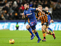 Bolton Wanderers' Jonathan Grounds breaks away from Hull City's Jarrod Bowen<br /> <br /> Photographer Andrew Kearns/CameraSport<br /> <br /> The EFL Sky Bet Championship - Hull City v Bolton Wanderers - Tuesday 1st January 2019 - KC Stadium - Hull<br /> <br /> World Copyright © 2019 CameraSport. All rights reserved. 43 Linden Ave. Countesthorpe. Leicester. England. LE8 5PG - Tel: +44 (0) 116 277 4147 - admin@camerasport.com - www.camerasport.com