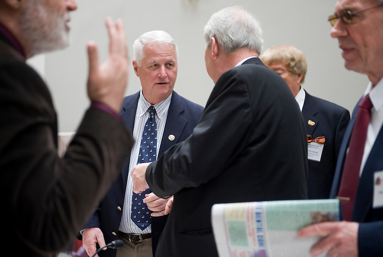 "Rep. William Delahunt, D-Mass., second from left, talks with Sergei Rogov of the Institute of USA and Canada, during the World Russia Forum 2010 held in Hart Building, focusing on ""U.S.-Russia business, political, science, education, and cultural cooperation,"" April 26, 2010."