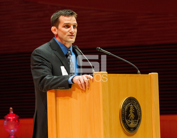STANFORD, CA - OCTOBER 16, 2015—Matt Gentry, a inductee gives a speech at the 2015 Stanford Athletics Hall of Fame Induction Ceremony at the Bing Concert Hall .