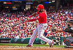 28 September 2014: Washington Nationals outfielder Denard Span connects for his team record setting 184th hit of the season during play against the Miami Marlins at Nationals Park in Washington, DC. The Nationals shut out the Marlins 1-0, caping the season with the first Nationals no-hitter in modern times. The win also notched a 96 win season for the Nats: the best record in the National League. Mandatory Credit: Ed Wolfstein Photo *** RAW (NEF) Image File Available ***