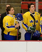 Marcus Jonsson (Sweden - 24), Dennis Everberg (Sweden - 16) - Sweden's Under-20 team defeated the Harvard University Crimson 2-1 on Monday, November 1, 2010, at Bright Hockey Center in Cambridge, Massachusetts.