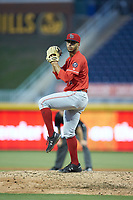 Louisville Bats relief pitcher Jesus Reyes (16) in action against the Durham Bulls at Durham Bulls Athletic Park on May 28, 2019 in Durham, North Carolina. The Bulls defeated the Bats 18-3. (Brian Westerholt/Four Seam Images)