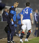 Nicky Clark with a twinge in his leg shortly before getting subbed
