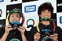 "June 9, 2016, Tokyo, Japan - Japanese comedians Hiroshi Shinagawa (L) and Tomoharu Shoji display a memory game ""Simon Air"" at the annual Tokyo Toy Show in Tokyo on Thursday, June 9, 2016. Some 160,000 people are expecting to visit the four-day toy trade show.   (Photo by Yoshio Tsunoda/AFLO) LWX -ytd-"
