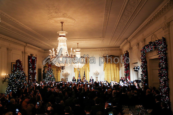 United States President Barack Obama and First Lady Michelle Obama attend a Hanukkah reception in the East Room of the White House, December 14, 2016, Washington, DC. Photo Credit: Aude Guerrucci/CNP/AdMedia