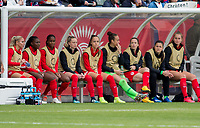 CARSON, CA - FEBRUARY 9: Canada bench during a game between Canada and USWNT at Dignity Health Sports Park on February 9, 2020 in Carson, California.