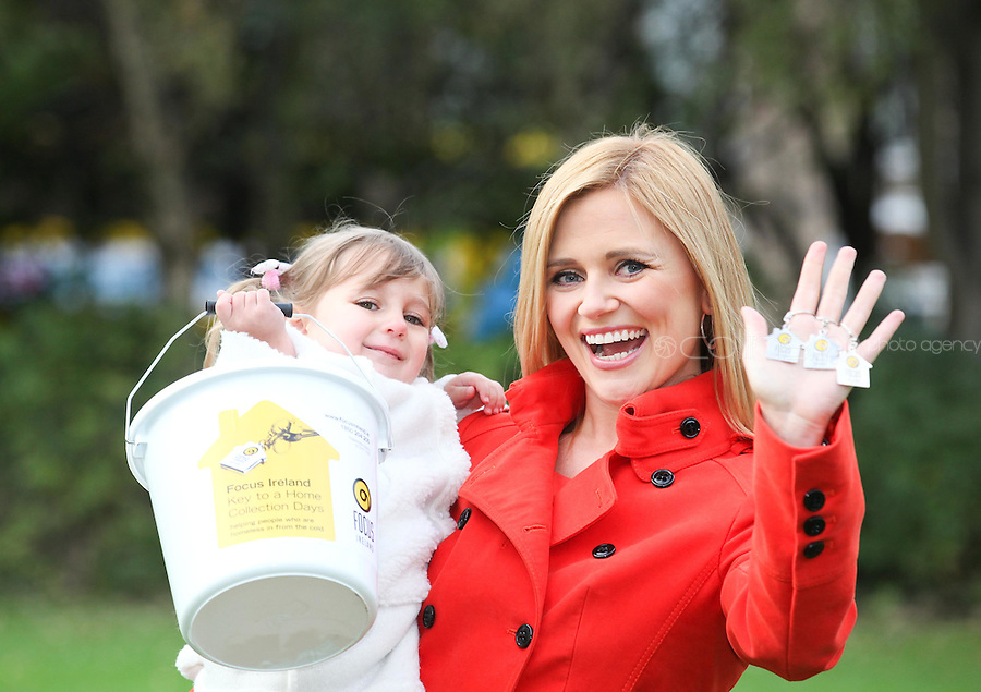 NO REPRO FEE. 18/10/2011. Focus Ireland Ambassadors - TV3's Karen Koster and 4 year old Ava O'Donnell teamed up with Focus Ireland to make an urgent appeal for people to volunteer to take part in the charity's annual 'Key to a Home Collections' on November 18th - 21st.Volunteers are needed nationwide to sell key rings and shake buckets to raise vital funds to help Focus Ireland's work each year supporting over 6,500 people who are homeless or at risk of losing their home. You can get involved by calling 01 881 59 00, emailing events@focusireland.ie or by visiting www.facebook.com/focusirelandcharity. Picture James Horan/Collins