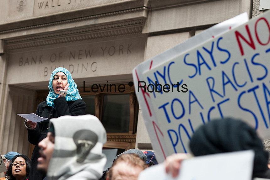 Fordham University Law Students and their supporters protest in front of Cipriani Wall Street on Saturday, February 3, 2012 where NYPD Commissioner Ray Kelly was speaking to a Fordham University Alumni Assoc. luncheon. NYPD officers monitored mosques, Muslim student groups and other activities in their effort to uncover terrorist groups. . (© Richard B. Levine)